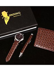 Set of 3 Men's Father Gift Brown Leather Band Watch Jewelry Set with Weave Wallet Pen