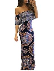 Women's Sexy Bodycon DressFloral Boat Neck Maxi / Mini Short Sleeve Multi-color Polyester Summer / Fall Mid Rise