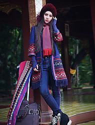 Damen Geometrisch Boho Ausgehen Mantel,Winter V-Ausschnitt Langarm Blau Mittel Wolle / Polyester