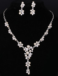 Silver Full-Crystal Rhineston Flower Pearl Tissue Necklace Earrings Jewelry Set for Lady Women Wedding Party