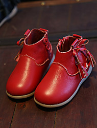 Girl's Boots Spring / Summer / Fall Closed Toe Cowhide Outdoor Flat Heel Bowknot / Tassel Black / Pink / Red Others