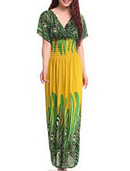 Women's Beach Plus Size Simple Boho Loose Sheath Skater Dress,Print V Neck Maxi Short Sleeve Summer High Rise Inelastic Medium