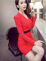Women's Going out / Party/Cocktail Sexy / Cute Sheath DressStriped V Neck Above Knee Long Sleeve Red