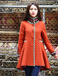 Our Story Women's Going out Boho CoatGeometric Stand Long Sleeve Winter Orange Wool / Polyester Medium