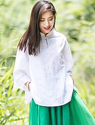 Mulheres Blusa Casual Simples / Chinoiserie Verão,Jacquard Rosa / Branco Algodão Colarinho Chinês Manga ¾ Opaca