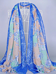 Women's Fashion Voile Totem Print ScarfNavy Blue/Blue/Gray