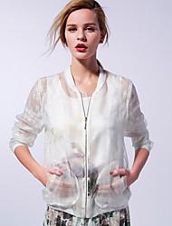 Mulheres Jaqueta Happy-Hour Moda de Rua Primavera,Estampa Animal / Bordado Branco / Laranja Poliéster / Náilon / Elastano Colarinho Chinês