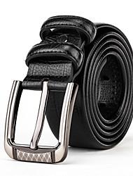 Mens Silver Belt Buckle Casual Pants Jeans Black Leather Waist Belt Straps
