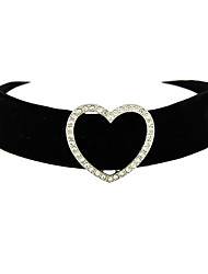 Fashion Black Wide Velvet Choker Necklace with Rhinestone Heart