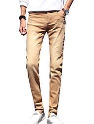 Men's Solid Casual / Work JeansCotton / Polyester / Spandex Black / Blue / Brown / White / Gray MG-109