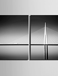 E-HOME® Stretched Canvas Art Bridge Decoration Painting  Set of 2