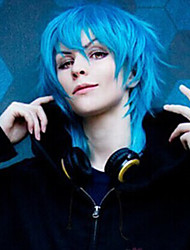 Dramatical Murder Halloween Cosplay Wigs Short Straight Silver With Blue Synthetic Wig Tsurumaru Kuninaga Anime Wig
