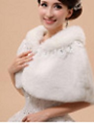 Women's Wrap Capelets Sleeveless Faux Fur White Party/Evening Off-the-shoulder 41cm Feathers / fur Open Front