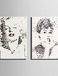 E-HOME® Stretched Canvas Art A Lot Of People Made Portraits Decoration Painting  Set Of 2