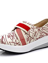 Feminino Mocassins e Slip-Ons Sapatos de Berço Lona Primavera Verão Outono Sapatos de Berço Elástico Anabela Branco Vermelho Azul2,5 a