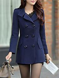 Mulheres Casaco Vintage Inverno,Sólido Azul / Vermelho / Amarelo Lã / Algodão / Outros Colarinho de Camisa-Manga Longa Grossa