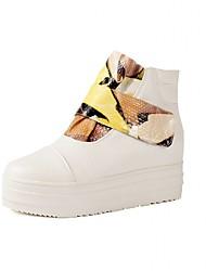 Feminino-Saltos-Plataforma Botas de Cowboy Botas de Neve Botas Montaria Botas da Moda-Rasteiro Plataforma-Preto Amarelo Vermelho-Couro