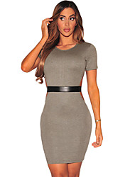Women's Gray Faux Leather Strap Cut Out Dress
