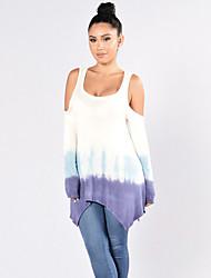 Damen Einfarbig Einfach Ausgehen T-shirt,U-Ausschnitt Frühling / Herbst Langarm Lila Polyester Mittel