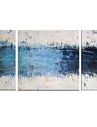 Pintada a mano Abstracto Pinturas de óleo,Modern Tres Paneles Lienzos Pintura al óleo pintada a colgar For Decoración hogareña