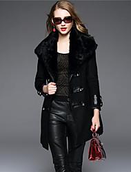 BOMOVO Women's Shirt Collar Long Sleeve Wool & Blends Black / Khaki-B16QBF1