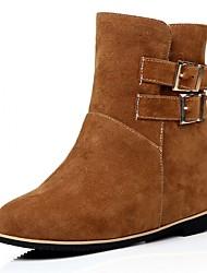 Feminino-Saltos-Plataforma Inovador Botas de Cowboy Botas de Neve Botas Montaria Botas da Moda-Rasteiro Plataforma-Preto Amarelo-Couro