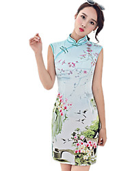 Summer Dress Vintage Modified Thin Temperament Chinese Cheongsam Dress Wholesale Split