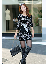 Women's Casual/Daily Simple A  DressStriped Round Neck Above Knee Long Sleeve Others