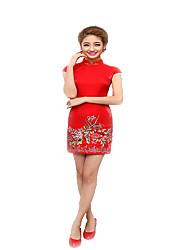 Une Pièce/Robes Cosplay Vêtrements Lolita Rouge Imprimé Manches courtes Moyen Pour Coton