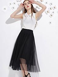 j&d Frauen solid schwarz / grau skirtssimple midi