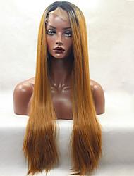 moda longa reta dianteira do laço sintético peruca glueless 1b / 30 cores para mulheres perucas afro