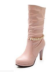 Damen-Stiefel-Outddor-PU-Stöckelabsatz-Modische Stiefel-Schwarz / Rosa / Weiß