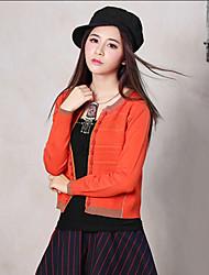Mujer Regular Cardigan Noche Vintage,Estampado Naranja Escote Redondo Manga Larga Algodón / Poliéster Primavera / Otoño Medio Elástico