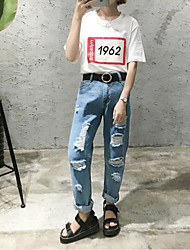 Women's Solid Blue Jeans / Shorts PantsVintage / Street chic / Sophisticated Summer