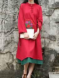 Ample Robe Femme Décontracté / Quotidien Chinoiserie,Broderie Mao Midi Manches Longues Rouge Coton / Lin Printemps / AutomneTaille