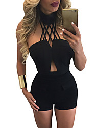Women's Black Choker Crop Top and High Waist Short Set