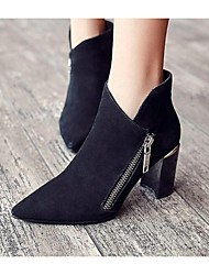 Women's Boots Spring Fall Winter Suede Outdoor Chunky Heel Zipper Split Joint Black Camel Other