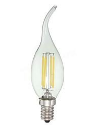 4 E12 Luzes de LED em Vela C35 4 COB 380 lm Branco Frio Regulável AC 110-130 V 1 pç