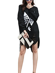 Women's Casual/Daily Simple Loose DressLetter Round Neck Asymmetrical Long Sleeve Black Polyester Fall / Winter