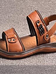 Men's Sandals Summer Leather Casual Flat Heel Black Brown