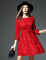 Boutique S Going out Cute Sheath DressSolid Round Neck Knee-length  Sleeve Red Others Summer High Rise