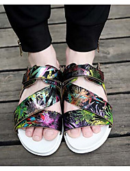 Men's Slippers & Flip-Flops Summer Slippers PU Casual Flat Heel Others Black / White Walking