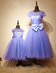 Formal Evening Dress - Mini Me A-line Jewel Ankle-length Tulle Charmeuse with Beading Bow(s)