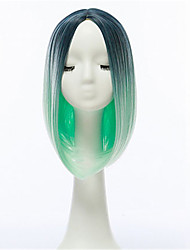 Europe And The United States Points Bobo Head In Fashionable Hair Wigs Female Dyeing Gradient Green