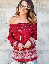Tee-shirt Aux femmes,Imprimé Décontracté / Quotidien Sexy / Chic de Rue Printemps / Automne Manches Longues Bateau Rouge Polyester Moyen