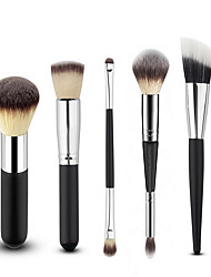 5 Makeup Brushes Black Set / Blush Brush / Concealer Brush / Powder Brush / Foundation Brush
