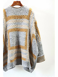 Women's Casual/Daily Simple Regular CardiganStriped Blue / Pink V Neck Long Sleeve Acrylic Fall Medium Micro-elastic