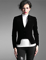 Baoyan Women's Stand Long Sleeve Sweater & Cardigan Black-11028