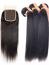 4 Pièces Droit (Straight) Tissages de cheveux humains Cheveux Brésiliens Tissages de cheveux humains Droit (Straight)