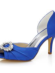 Mujer-Tacón StilettoTacones-Boda Vestido Fiesta y Noche-Seda-Azul